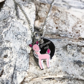 zilveren kinderketting hert roze + graveerhanger