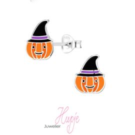 zilveren kinderoorbellen Halloween Pumpkin