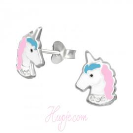 Silberne Kinderohrringe glitzerndes Einhorn rosa hellblau