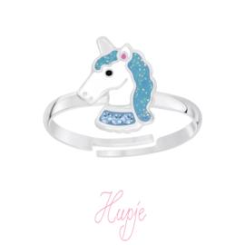 zilveren kinderring sparkling unicorn zeegroen