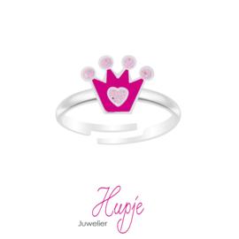 zilveren kinderring kroon roze glitter
