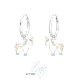 Silberne Ohrringe Blüte Perlmutt blau mit Brisurverschluss