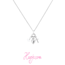zilveren kinderketting Faith Hope Love