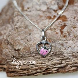 zilveren kinderketting roze lieveheersbeestje