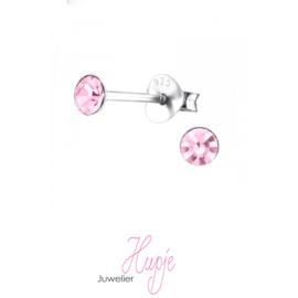 zilveren oorknopjes roze kristal