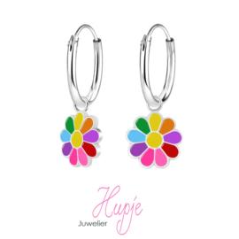 zilveren kinderoorbellen regenboog bloem