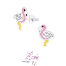 zilveren kinderoorbellen flamingo diva