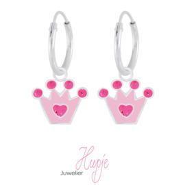 zilveren kinderoorbellen roze glitter kroontje