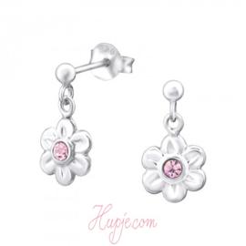zilveren kinderoorbellen bloem roze kristallen hanger