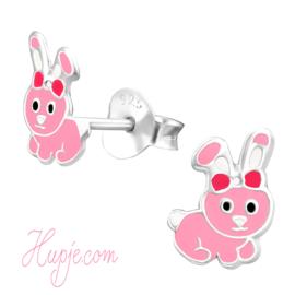 zilveren kinderoorbellen roze konijntjes