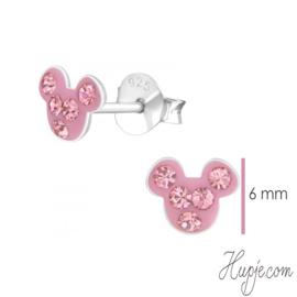 zilveren oorbellen muis pink diamond