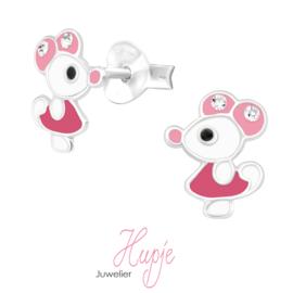 zilveren kinderoorbellen roze muisje met kristallen