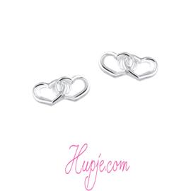 zilveren oorbellen hartjes infinity