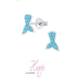 zilveren kinderoorbellen zeemeermin staart blauwe kristallen