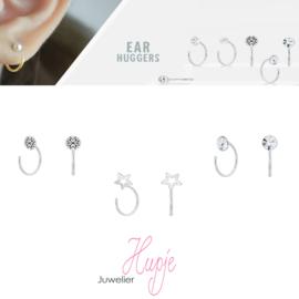 zilveren ear huggers kristal