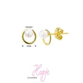14 karaat gouden oorknopjes parel in cirkel
