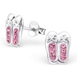 Silberne Ohrringe Ballett rosa Swarovski® Kristalle