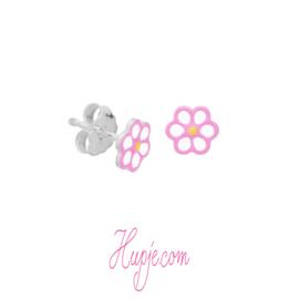 zilveren kinderoorbellen roze bloem