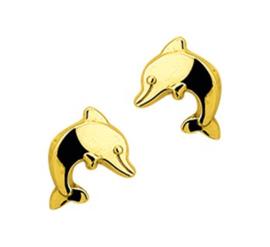 14 Karat Gold Kinderohrringe Delfin