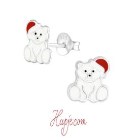 Silberne Kinderohrringe Eisbär mit Weihnachtsmütze