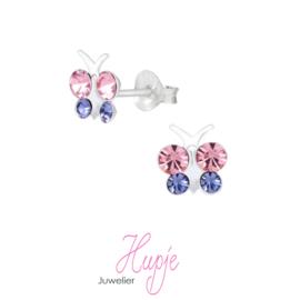 zilveren kinderoorbellen vlinder roze / lila kristallen