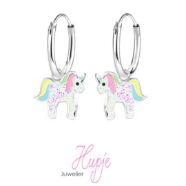 zilveren kinderoorbellen eenhoorn creolen pastel kleuren roze glitter