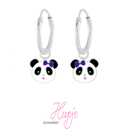 zilveren kinderoorbellen creolen panda paars strikje