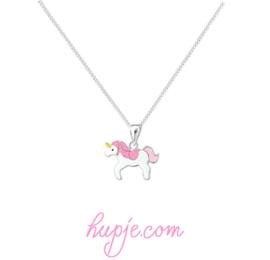 zilveren kinderketting eenhoorn roze manen