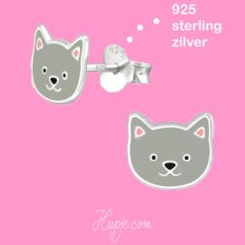 zilveren oorbellen kat grijs