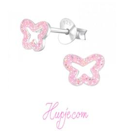 zilveren kinderoorbellen vlinder roze glitter open