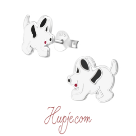 zilveren kinderoorbellen hondje zwart wit