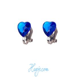SOUZA clipoorbellen donkerblauw hartje kristal