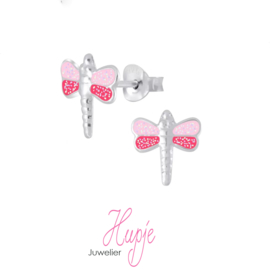 zilveren kinderoorbellen roze glitter libelle