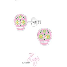 zilveren kinderoorbellen skull halloween