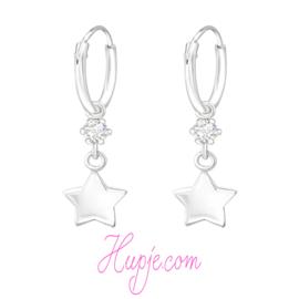 zilveren kinderoorbellen creolen ster + kristal