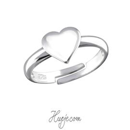 zilveren kinderring hart (verstelbaar)