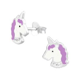 Silberne Kinderohrringe glitzernde Einhörner lila