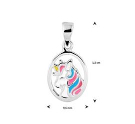 zilveren kinderketting eenhoorn Girly + bijpassende oorknopjes