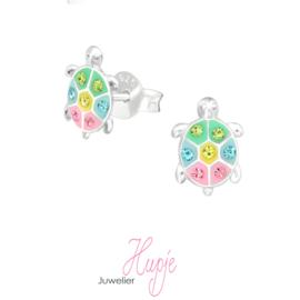 zilveren kinderoorbellen schildpad pastel + kristallen