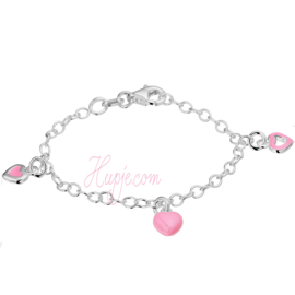 Silbernes Kinderarmband 3 rosa Herzen
