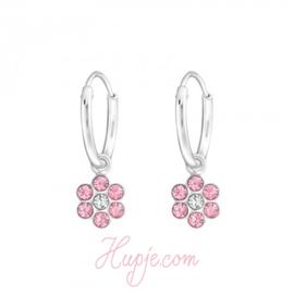 Silberne Kinderohrringe Blüte rosa Kristall