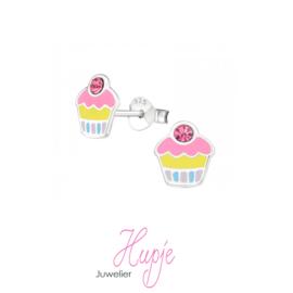 zilveren oorknopjes cupcake roze kristal