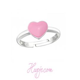 zilveren kinderring hartje roze