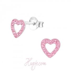 zilveren oorbellen hartje roze kristallen