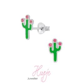 zilveren oorknopjes cactus roze glitter bloemetjes