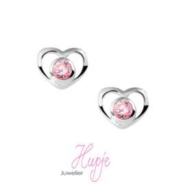 zilveren oorbellen  hartje roze Zirkonia