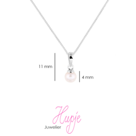 zilveren kinderketting roze parel