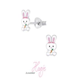 zilveren kinderoorbellen konijn met worteltje