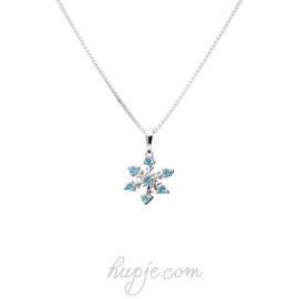 zilveren kinderketting frozen blauwe kristal