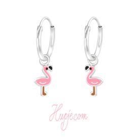 zilveren oorbellen flamingo creolen